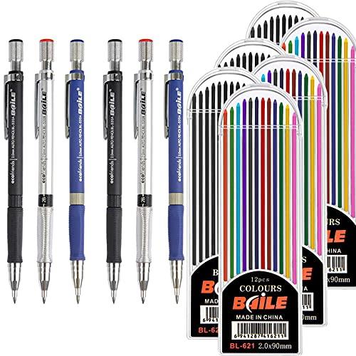 Dancepandas Portaminas 2mm 2B 6PCS Lápiz Mecánico Dibujo Mechanical Pencil y 72 Tubos De Recarga De Plomo Recargas De Color y Negro Para Proyectos De Dibujo Escritura Manualidades Dibujo De Arte ✅