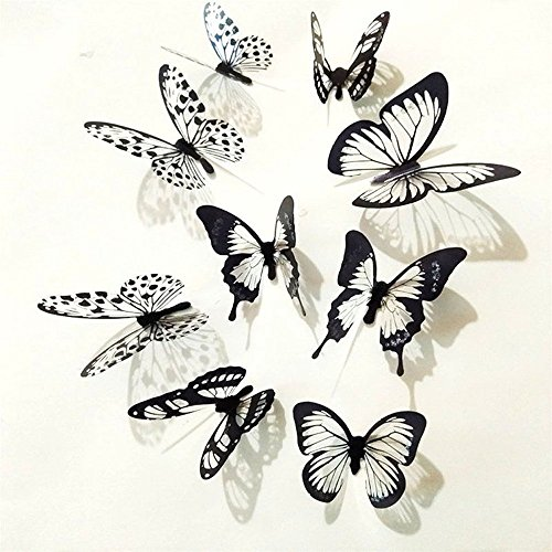 U/K Wandaufkleber, 36 Stücke 3D Schwarz Weiß Schmetterling DIY Dekoration Abnehmbare PVC Schlafzimmer Wohnzimmer Wandaufkleber Wohnkultur Wandtattoos Hohe Qualität