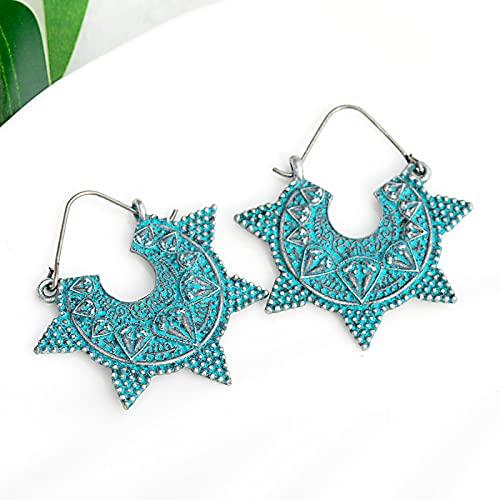 FEARRIN Pendientes pequeños para Mujer Pendientes Colgantes geométricos de Color Plateado Pendientes Azules Vintage Mujer 1