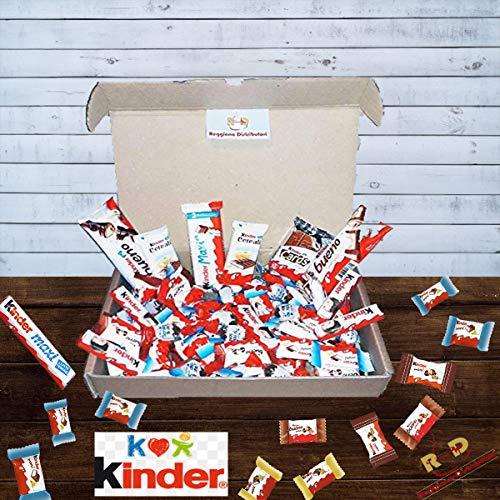 Kinder Box Snack Ferrero Confezione 65PZ Scatola Regalo mini assortiti Selezione Bueno Cereali Barrette Cioccolato al Latte Dolci idee pausa caffè ufficio feste compleanno