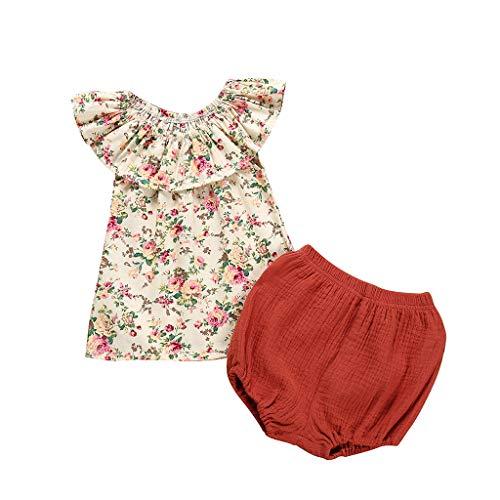 Baby Mädchen Aus der Schulter Blume T-Shirt und Kurze Hose Set Outfits