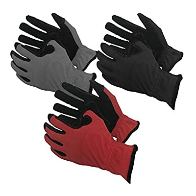 Task Gloves Mechanical Task Premium Synthetic Leather Black/Grey/Red Work Gloves - 3-Pack - M-XL