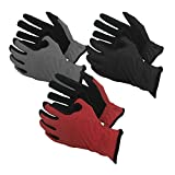 Task Gloves (3-Pack) Mechanical Task Premium Synthetic Leather Black/Grey/Red Work Gloves -L