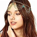 Mode Metallkopf Türkis Kette Gold Damen Stirnband Kopfstück Haarband Haarschmuck von SamGreatWorld