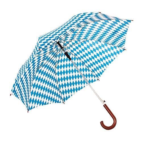 Regenschirm Bayerische Raute, gebogener Kunststoffgriff in Holzoptik, 100 cm Spannweite, Einhand-Aufspanntechnik