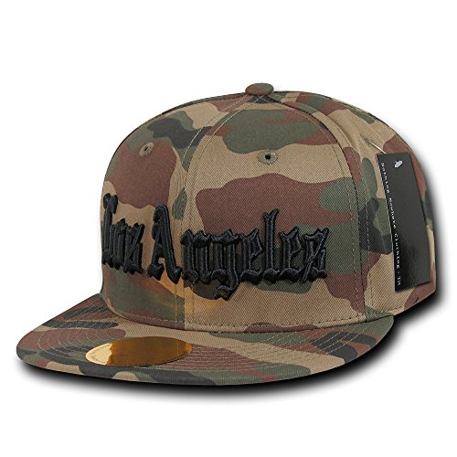 DECKY Camo Old English Embroidered Flat Bill Snapback Cotton Cap - Black - Los Angeles