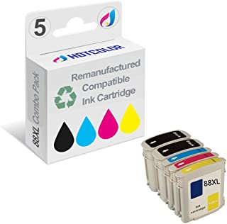 HOTCOLOR 5PK 88XL 88 XL Ink Cartridges for HP OffieJet Pro K5400 K550 K8600 L7480 L7550 L7580 L7590 L7650 L7680 L7750 L7780 Printer (2BK.C.M.Y)