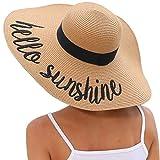Lanzom Womens 5.5 Inches Big Bowknot Straw Hat Large Floppy Foldable Roll up Beach Cap Sun Hat UPF 50+(Y-Hello Sunshine Khaki)