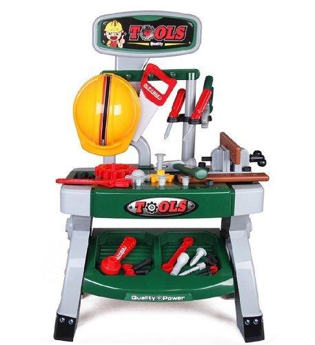 deAO Taller Mecánico Herramientas de Juguete y Accesorios de Bricolaje Playset Juego de Imitación Actividad Infantil Conjunto Banco de Trabajo Incluye 50 Accesorios