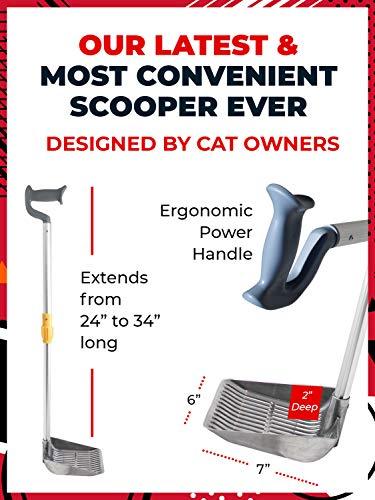 iPrimio Scoop Monster Cat Litter Stand Up Scooper - Adjustable Length Handle Upto 34 inch - Super Large Shovel - Makes Fast Sifting (Silver)