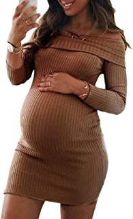 Howely Women's Off The Shoulder Ribbed Knit Maternity Stretch Bodycon Dresses