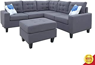 Sofa Sectional Set, Couch Linen-Like Left or Right Hand with Ottoman, 4 Pieces for 5 Seaters, Living Room Furniture, Gray