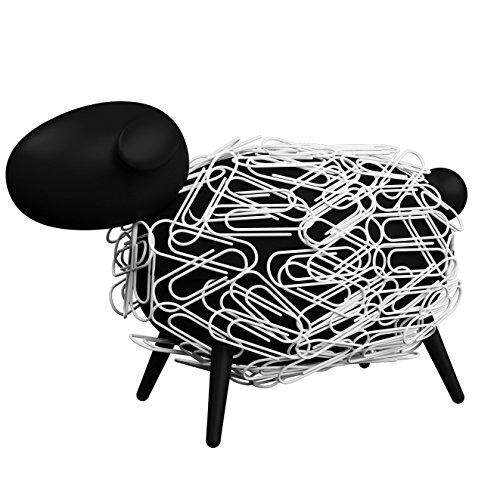 Allocacoc Dispensador de clips magnético oveja–Negro Decorado con clips–La tierische Klips Soporte para cualquier escritorio, DH0028/SHEEPI
