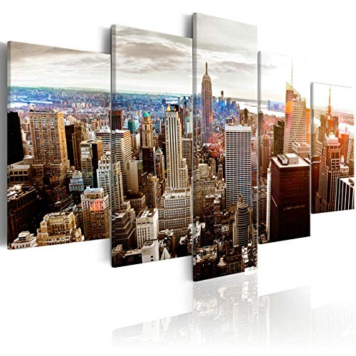New Modern Wall Art Set of 5 City View of NYC In Sepia Wall Art Painting Pictures Print On Canvas Art The Picture for Home Decor Decoration Gift