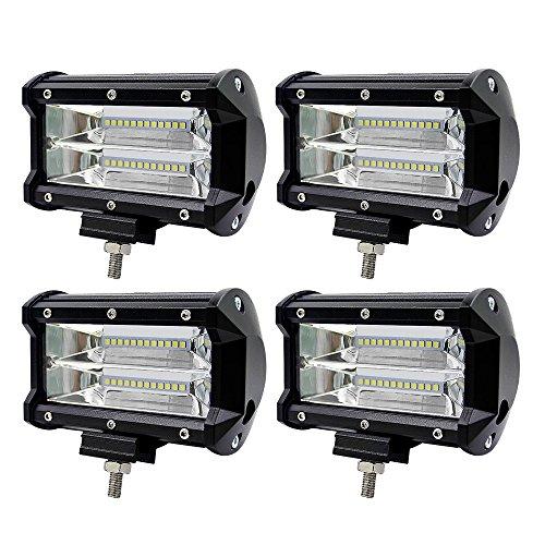 LED Arbeitsscheinwerfer, WZTO 10800LM 24 LED Zusatzscheinwerfer DC 12-24V 72W 5 Inch Auto Scheinwerfer Offroad Flutlicht Spotlight 6000K Wasserdicht IP67 Arbeitslicht