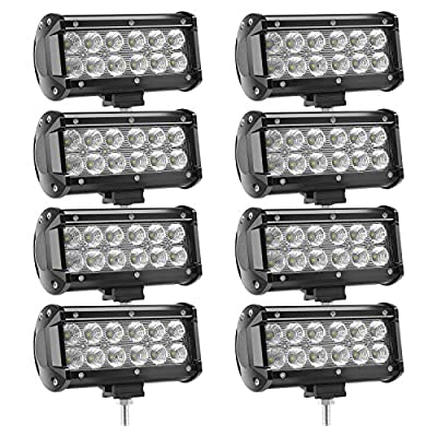 LED Light Bar 8 X 36w 3600 Lumens, YEEGO Cree LED Flood Lights for Off-Road Rv Atv SUV Boat Truck SUV ATV Tractor Pickup Lighting 2 Years Warranty (8Pcs)
