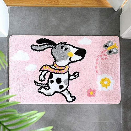 QZHYGE 50 * 80 cm Cartoon Animal Salle de Bains Absorbant Tapis de Sol Porte à la Maison Tapis Chambre Tapis de Sol Tapis de Salon Tapis Doux et Confortable Coussin de Pied Rose