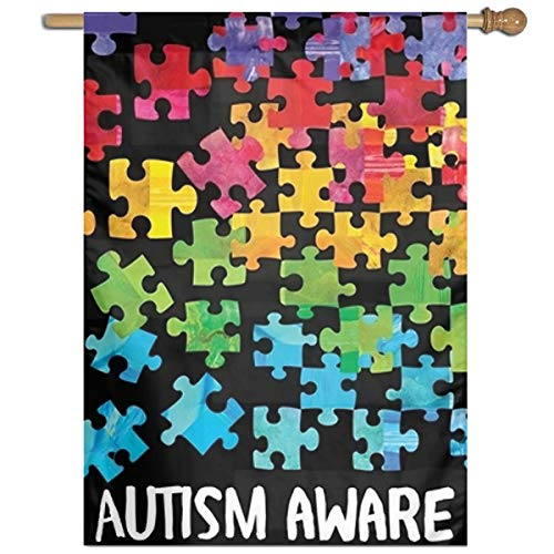 """Mini GHBAT Autism Awareness Welcome Holiday Family Garden Flag Outdoor Flags House Decorative Flag 27""""x37"""""""