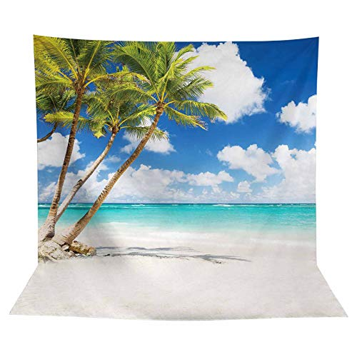 Allenjoy Tropical Seaside Beach Backdrop Summer Hawaii Island Palm Trees Photography Background for Boys Girls Adults Portrait Holiday Travel Happy Birthday Party Dceor Banner 8x8ft Photo Booth Props