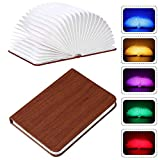 Folding Book Lamp, USB Rechargable Book Shaped Light,5 Colors Led Table Lamp for Decor, PU Leather Book Light,Environmentally Material, Magnetic Design,Creative Gift (Brown)