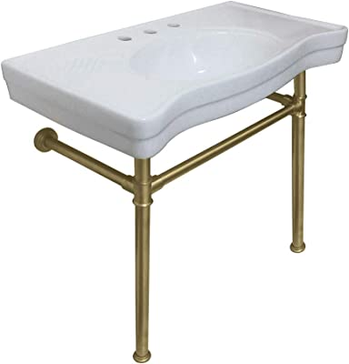 Kingston Brass VPB1367ST Imperial Ceramic Console Sink with Stainless Steel Legs, White/Brushed Brass