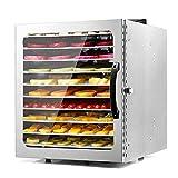 NXYJD Deshidratador de Alimentos de 10 bandejas, secador de deshidratación de Aperitivos de Acero Inoxidable, máquina Secadora de Carne, Hierbas y Frutas