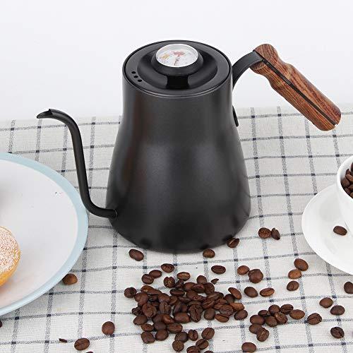 Hand-Tropfkaffeekanne, Schwanenhals-Ausguss Edelstahl-Tropfkaffeekanne Hand-Tropf-Tee-Kaffeekocher Hand-Punch-Kanne, mit Thermometer am Deckel