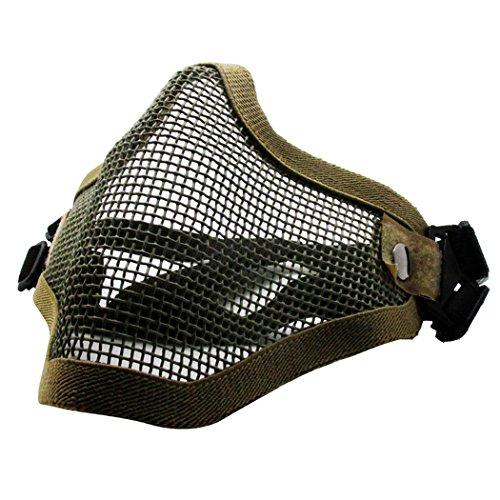 QMFIVE Máscara de Airsoft Malla de Acero táctico mascaras Mascara de Media Cara el Engranaje Protector para Airsoft Paintball(Desierto)