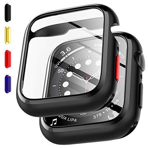 EGVFunda Built-in e Protector de Pantalla CompatibleconApple Watch SE Series 6 Series 5 40mm,2 Pack, Botones de colores Reemplazables, Funda protectora versátilCristal Templado