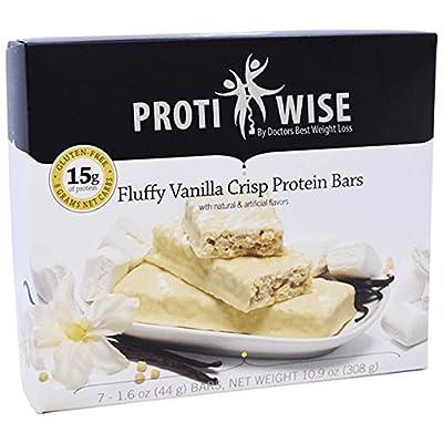 ProtiWise - Fluffy Vanilla Crisp Bars   Gluten Free Diet Snack Bars   High Protein, High Fiber, Low Sugar, Cholesterol Free (7/Box)