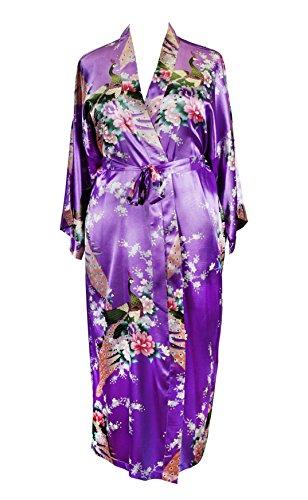 Applesauce 838 - Plus Size Peacock Japanese Women Kimono Sleep Robe, US Size 1X 2X 3X (Petunia Purple)