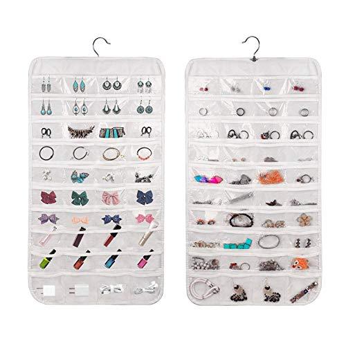 Recet Joyero organizador de joyas colgante armario armario organizador de joyas doble cara 80 bolsillos transparente bolsa de almacenamiento