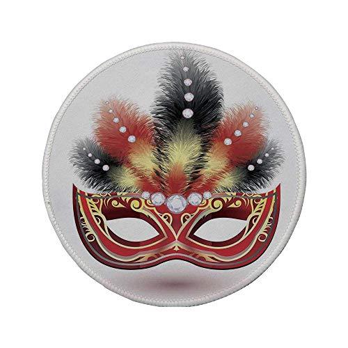 Rutschfreies Gummi-Rundmaus-Pad Maskerade Party-Maske mit dekorativen Federn und Diamantfiguren Illustrationsdruck Schwarz Rot Gelb 7.9