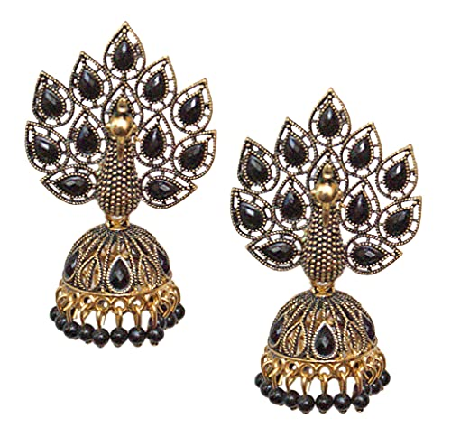 Pahal Traditional Jaipur Black Pearl Kundan Painted Big Gold Jhumka Earrings Peacock Indian Bollywood Bridal Wear Jewelry for Women
