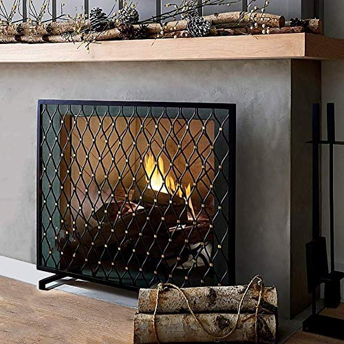 For Sale! Screen J-Fireplace Large Single Panel Wrought Iron Fireplace, Vintage Outdoor Safe Spark G...
