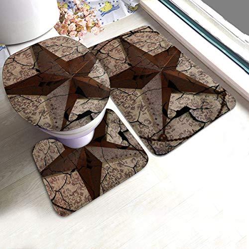 Taroot AA Bad Teppiche Sets 3 Stück Vintage rustikale Western Country Texas Lone Star Badematten Sets Teppiche für Badezimmer waschbar