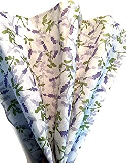 French Lavender Printed Tissue Paper for Gift Wrapping, 24 Sheets