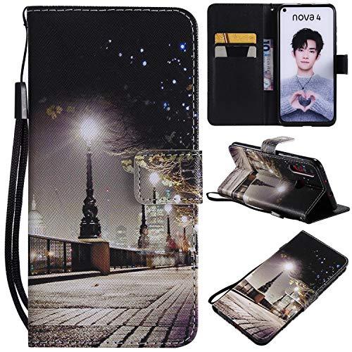 nancencen Kompatibel mit Handyhülle Huawei Nova 4 Hülle, Painted PU Leder Tasche Schutzhülle Hülle [Nacht]