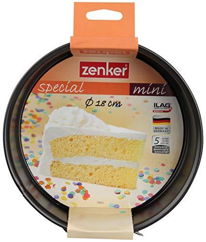 Zenker Springform Ø 18 cm SPECIAL - MINI, kleine Backform mit Flachboden aus Stahlblech, runde Kuchenform mit Antihaftbeschichtung (Farbe: Schwarz), Menge: 1 Stück