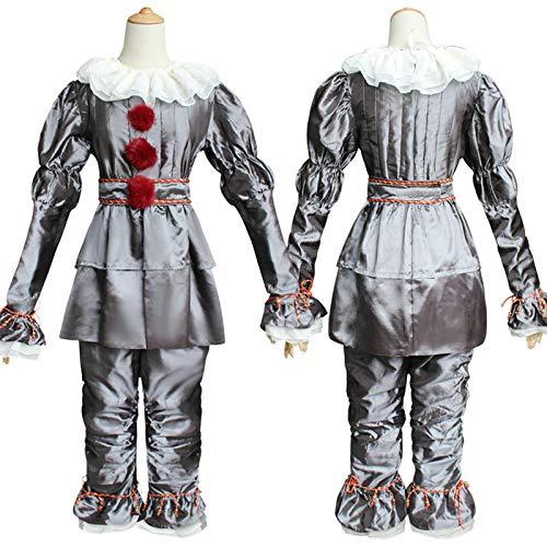Stephen King's It Pennywise Disfraz de Cosplay Scary Joker Suit Halloween Clown Cos (Silver, M)