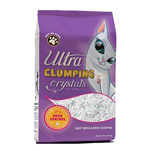 Ultra Pet Clumping Crystal Cat Litter, White Crystals with Multicolor Crystals, 5 Lbs