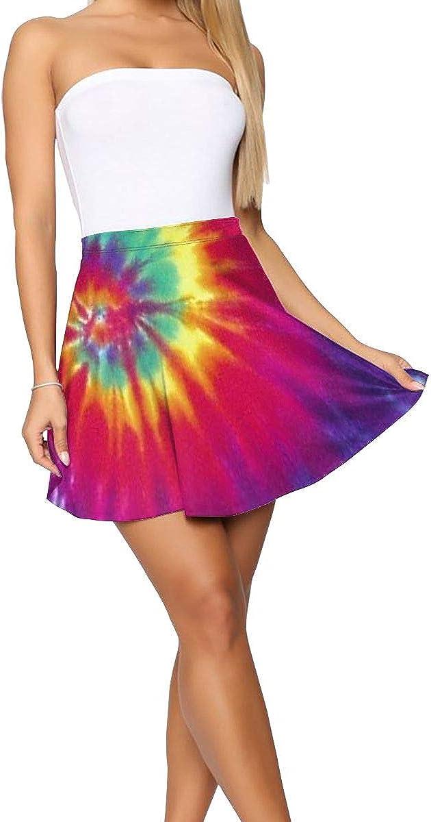 NKMN-DQ Pastel Rainbow Tie Dye Women's Casual Short Skirt High Waist A-line Flared Skater Skirt Party Mini Skirt