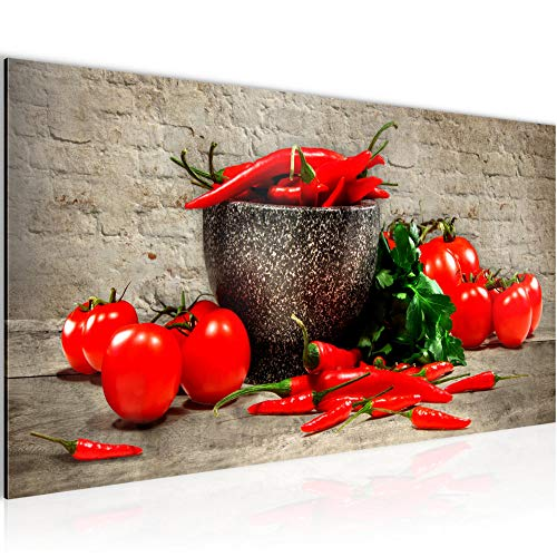 Bilder Küche - Gemüse Wandbild Vlies - Leinwand Bild XXL Format Wandbilder Wohnzimmer Wohnung Deko Kunstdrucke Braun 1 Teilig - MADE IN GERMANY - Fertig zum Aufhängen 005812a