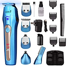 Ceenwes Cool 5 In 1 Mens Grooming Kit Professional Beard Trimmer Rechargeable Hair Clippers Multi-purpose Mustache Trimmer Waterproof Nose and Ear Body Trimmer For Men - 51f0wrBQlfL - Ceenwes Cool 5 In 1 Mens Grooming Kit Professional Beard Trimmer Rechargeable Hair Clippers Multi-purpose Mustache Trimmer Waterproof Nose and Ear Body Trimmer For Men