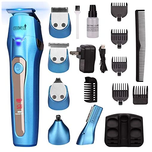 Ceenwes Cool 5 In 1Mens Grooming Kit Professional Beard Trimmer Rechargeable Hair Clippers Multi-purpose Mustache Trimmer Waterproof Nose and Ear Body Trimmer For Men - 51f0wrBQlfL - Ceenwes Cool 5 In 1Mens Grooming Kit Professional Beard Trimmer Rechargeable Hair Clippers Multi-purpose Mustache Trimmer Waterproof Nose and Ear Body Trimmer For Men