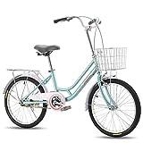 TTFGG Bicicleta De La Bici De 20 Pulgadas, Bicicletas De Señora Girl Confort con La Cesta De 120-150 Cm Niñas Y Niños, De Acero Al Carbono De Peso Ligero De La Bicicleta,Azul