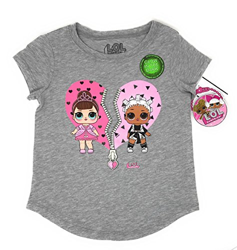 L.O.L. Surprise! LOL Glow In The Dark Surprise Girls T-Shirt (Charcoal Heather, Med 7/8)
