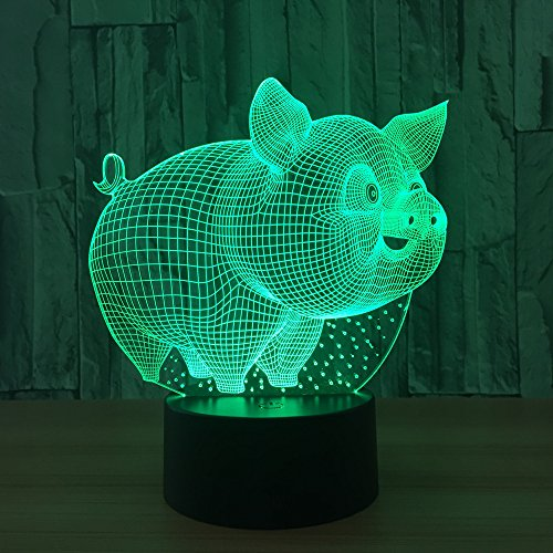 lihaohao Cute Animal Pig 3D Optical Illusion Lamp Led Night Light Boy Girls Children's Toy Baby Desk Lamp, 16 Color Changing Remote Control USB Bedside Table Lamp Bedroom Decoration Birthday