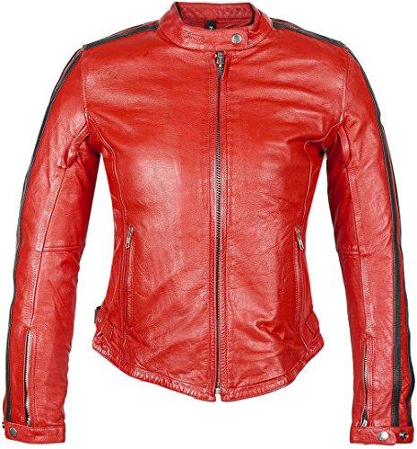 Helstons Motorradjacken Angel Leder Rag Rot, Rot, L
