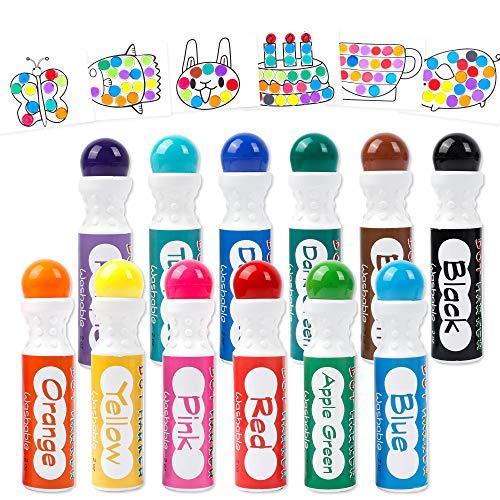 12 Colores Dot Marcadores,Shuttle Art Lavables Bingo Daubers para Niños Preschool Art Craft Supply con 10 Modelos de Doble Papel Adhesivo 1 Delantal 1 Manga